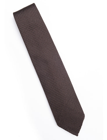 DRAKE'S - Hand-rolled Large Knot Grenadine Tie - Brown