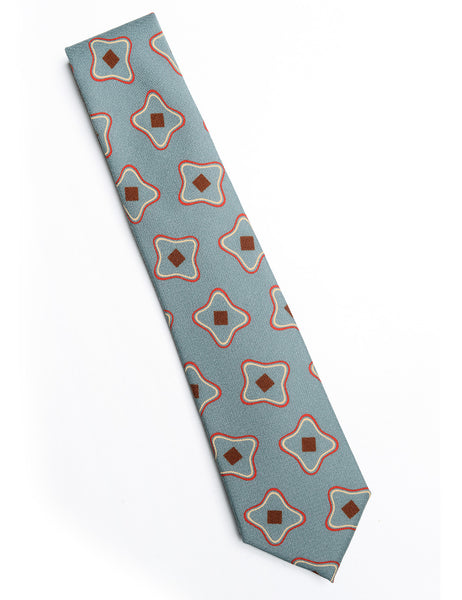 CAMOSHITA - Abstract Print Tie in Wool/Silk - Kelly