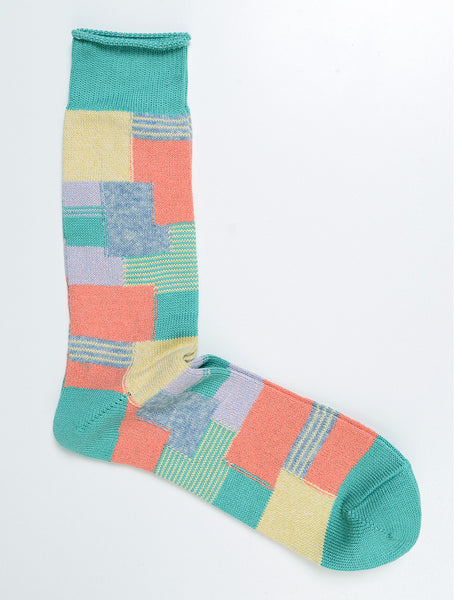 ANONYMOUS ISM - Patchwork Crew Socks in Mint
