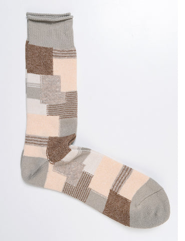 ANONYMOUS ISM - Patchwork Crew Socks in Beige