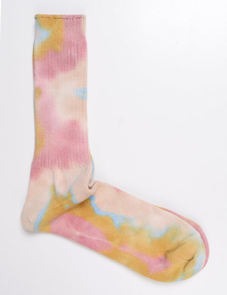 ANONYMOUS ISM - Tie-Dye Crew Socks in Pink