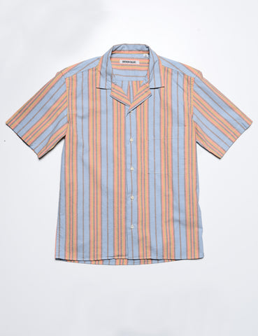 BROOKLYN TAILORS - BKT18 Camp Shirt in Cabana Stripe - Washed Terra Cotta