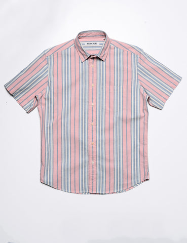 BROOKLYN TAILORS - BKT14 Casual Shirt in Cabana Stripe - Salmon