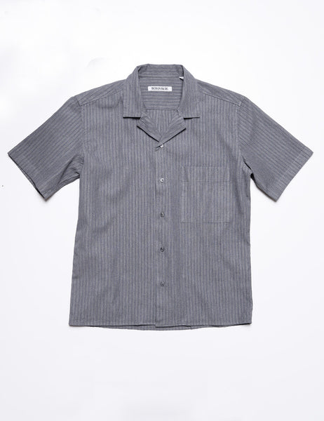 BROOKLYN TAILORS - BKT18 Camp Shirt in Summer Seersucker - Thunder Stripe