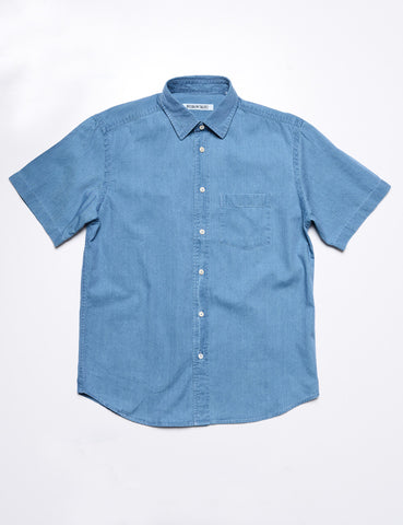 BROOKLYN TAILORS - BKT14 Casual Shirt in Washed Denim - Clear Blue Sky