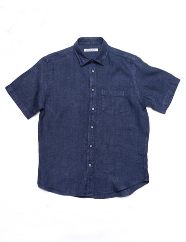 BROOKLYN TAILORS - BKT14 Casual Shirt in Italian Linen - Navy