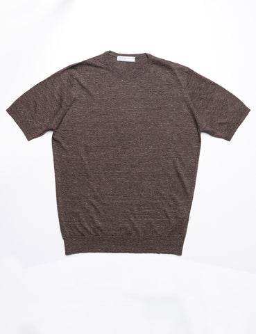 FILIPPO DE LAURENTIIS - Crew Neck Tee in Linen/Cotton - Cacao