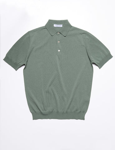 FILIPPO DE LAURENTIIS - Solid Polo Shirt in Cotton - Sage