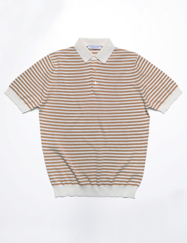 FILIPPO DE LAURENTIIS - Striped Polo Shirt in Crepe Cotton - Summer Tan