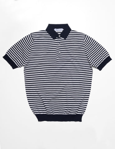 FILIPPO DE LAURENTIIS - Striped Polo Shirt in Crepe Cotton - Nautical