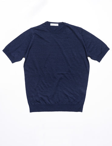FILIPPO DE LAURENTIIS - Crew Neck Tee in Linen/Cotton - Navy