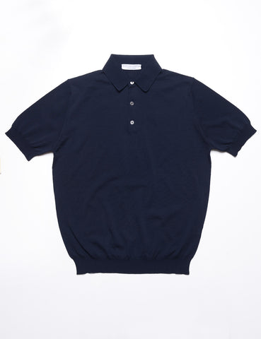 FILIPPO DE LAURENTIIS - Solid Polo Shirt in Cotton - Midnight Blue