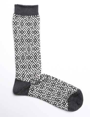ANONYMOUS ISM - Structure JQ Crew Sock - Charcoal/Off White