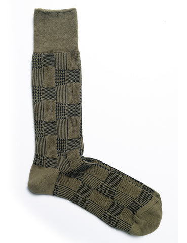 ANONYMOUS ISM - Random Pattern Crew Socks - Olive Green