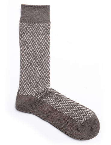 ANONYMOUS ISM - Wool Herringbone Crew Socks - Brown