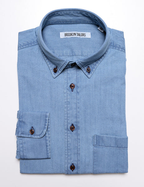 BROOKLYN TAILORS - BKT10 Casual Shirt in Italian Denim - Stonewashed Indigo