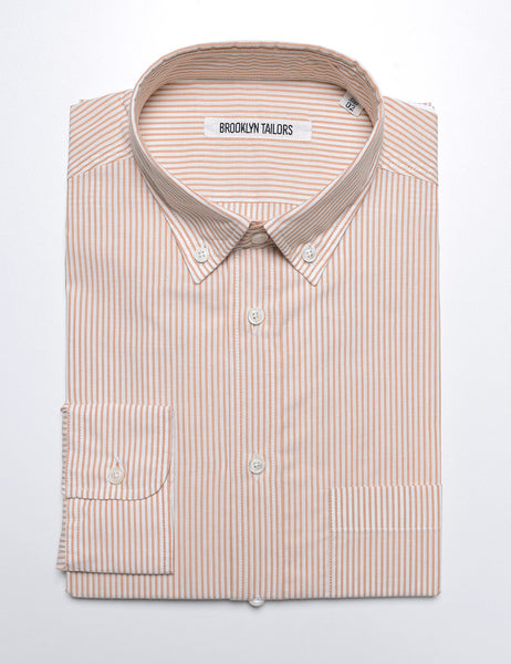 BROOKLYN TAILORS - BKT10 Casual Shirt in Ochre and White Thin Stripe