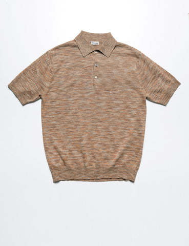 CAMOSHITA - Spacedye Knit Polo in Beach Sand