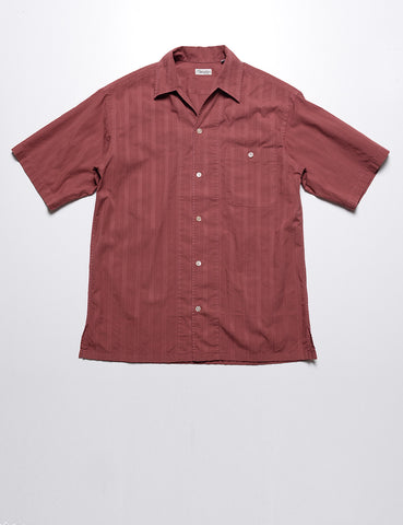 CAMOSHITA - Tonal Embroidered Summer Buttondown in Burnt Red