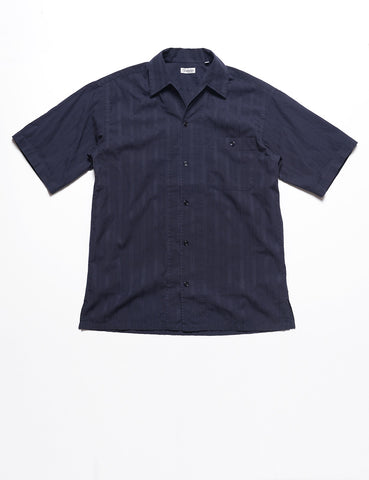 CAMOSHITA - Tonal Embroidered Summer Buttondown in Midnight