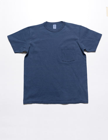 VELVA SHEEN - Pigment-Dyed Pocket Tee in Steel Blue