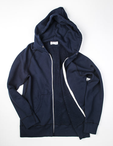 VELVA SHEEN - 8 oz Hooded W-Zip Sweat in Navy