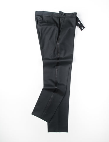 FINAL SALE - BROOKLYN TAILORS - BKT50 Tuxedo Trouser in Black Twill