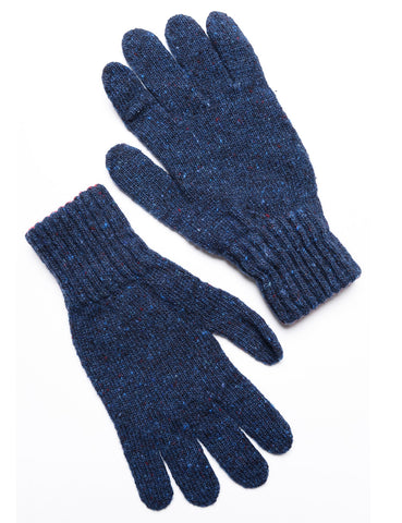 DRAKE'S - Knitted Gloves in Donegal Merino - Navy