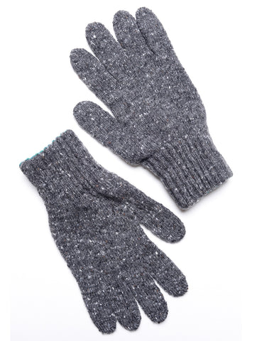 DRAKE'S - Knitted Gloves in Donegal Merino - Dark Gray