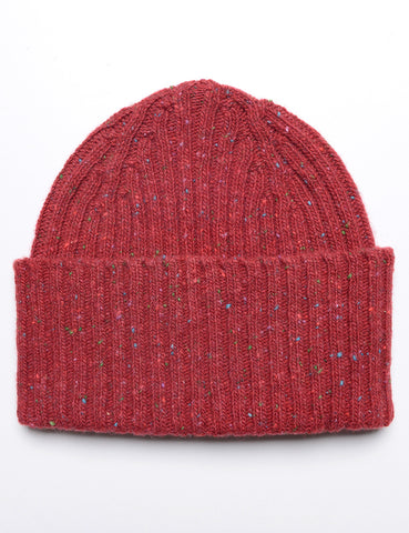 FINAL SALE: DRAKE'S - Ribbed Watch Cap in Donegal Merino - Cardinal Red