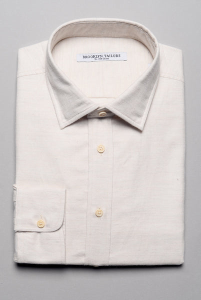 BROOKLYN TAILORS - BKT20 Dress Shirt in Ivory Flannel