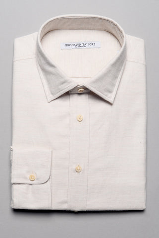FINAL SALE: BROOKLYN TAILORS - BKT20 Dress Shirt in Ivory Flannel