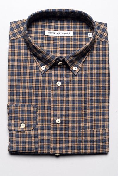 FINAL SALE - BROOKLYN TAILORS - BKT10 Sport Shirt in Rust and Charcoal Plaid