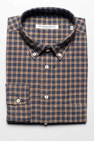 BROOKLYN TAILORS - Rustic Poplin Shirt in Copper and Charcoal Plaid