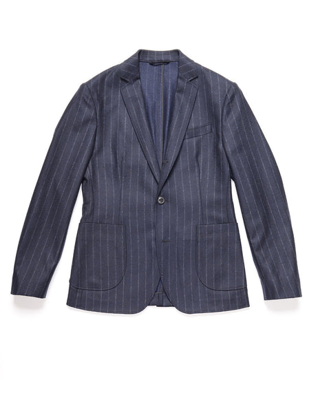 BROOKLYN TAILORS - BKT35 Unstructured Jacket in Chalk Stripe Flannel - Navy