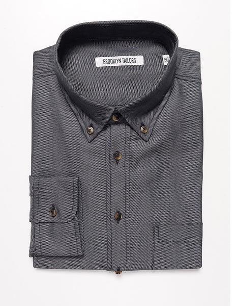 BROOKLYN TAILORS - BKT10 Slim Casual Shirt in Soft Basketweave - Stone