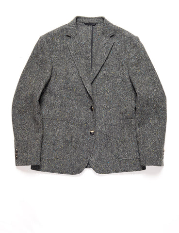 BROOKLYN TAILORS - BKT35 Unstructured Jacket in Flecked Donegal Tweed - Lead Gray