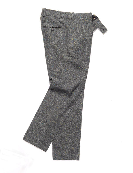 BROOKLYN TAILORS - BKT50 Tailored Trouser in Flecked Donegal Tweed - Lead Gray