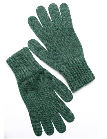 DRAKE'S - Knitted Gloves in Lambswool - Olive