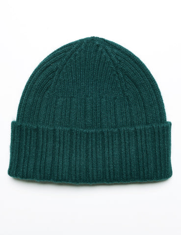 FINAL SALE: DRAKE'S - Ribbed Watch Cap in Geelong-Angora - Green