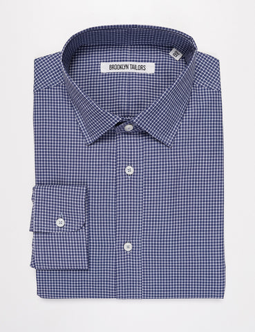 BROOKLYN TAILORS - BKT20 Slim Dress Shirt in Grid Check - Heather Blue & White