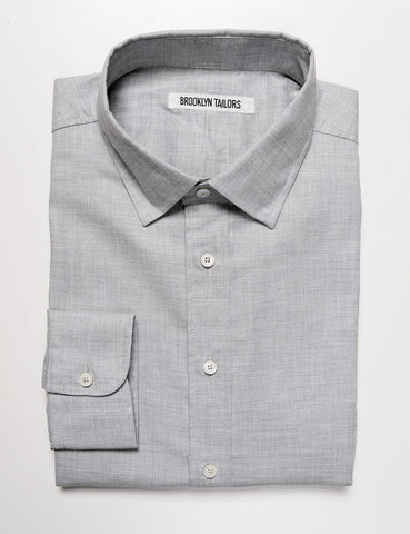 BROOKLYN TAILORS - BKT20 Dress Shirt in Soft Heathered Cotton - Cloud Gray