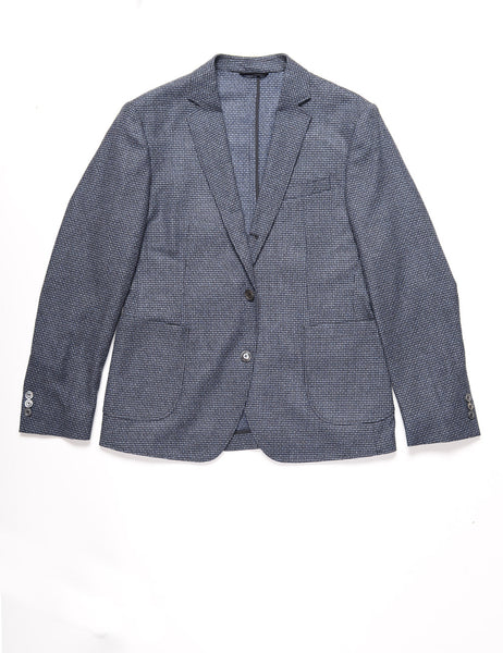 BROOKLYN TAILORS - BKT35 Unstructured Jacket in Wool / Cashmere Houndstooth - Smoke Blue