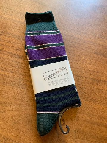 FINAL SALE - ANONYMOUS ISM - Horizon Stripe Crew Socks in Purple, Navy, and Forest