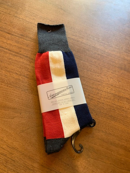FINAL SALE: ANONYMOUS ISM - Bar Stripe Crew Socks in Red, White, and Navy