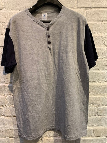 FINAL SALE: VELVA SHEEN - Two-Tone Baseball Henley in Heather Gray and Navy