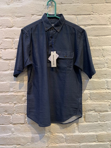 FINAL SALE: BROOKLYN TAILORS - BKT14 Popover Short Sleeve Shirt in Indigo Open Weave