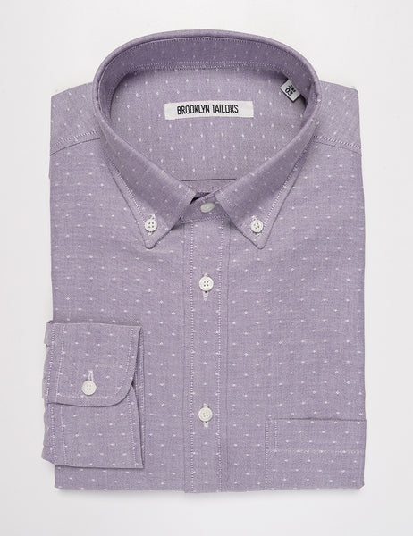 BROOKLYN TAILORS - BKT10 Slim Casual Shirt in Eyelet Oxford - Lavender