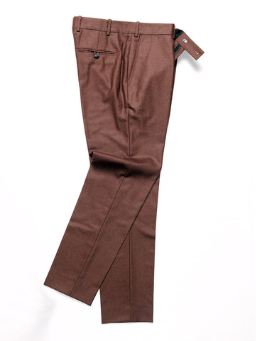 FINAL SALE: BROOKLYN TAILORS - BKT50 Tailored Trousers in Brushed Twill - Burnt Sienna
