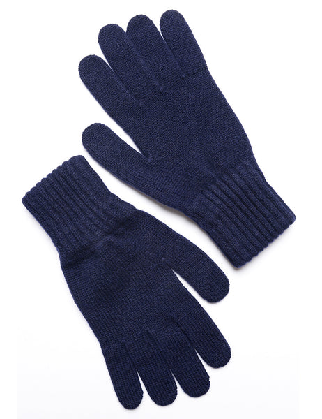 DRAKE'S - Knitted Gloves in Lambswool - Navy